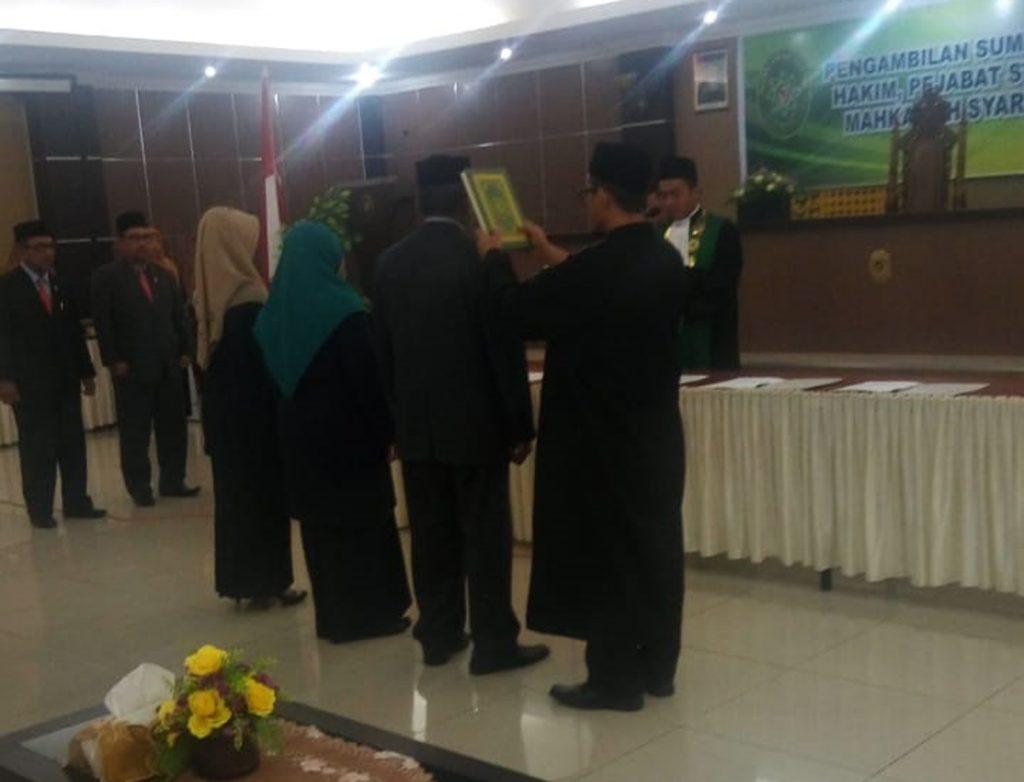 Pelaksanaan Pengambilan Sumpah Jabatan dan Pelantikan  Hakim, Pejabat Struktural dan Fungsional Mahkamah Syar'iyah Satker Baru