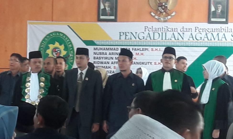 Hakim Mahkamah Syar'iyah Meulaboh Menghadiri  Pelantikan Bapak Hasanuddin, S.H.I., M.Ag