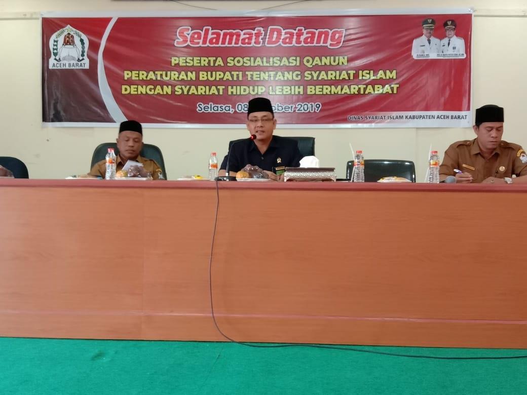 Sosialisasi Qanun Jinayat Nomor 6 Tahun 2014 di Aceh Barat Ketua MS. Meulaboh Narasumber