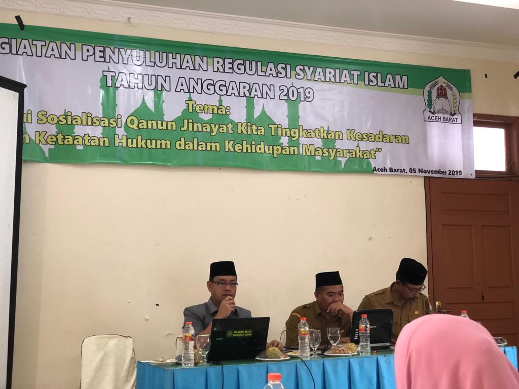 Ketua MS Meulaboh Menjadi Narasumber Penyuluhan Regulasi Syariat Islam Tentang Qanun Jinayah Tahun 2019
